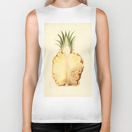 Pineapple Sliced in Half Vintage Illustration Biker Tank
