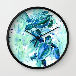 Turquoise Blue Sea Turtles in Ocean Wall Clock