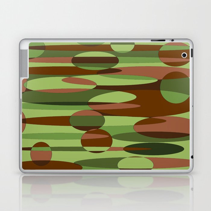 Trendy Green and Brown Camouflage Spheres Laptop & iPad Skin