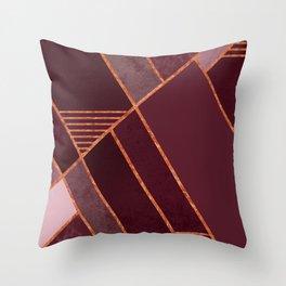 DARK RUBY PURPLE COPPER MARBLE BLUSH GEOMETRIC Throw Pillow