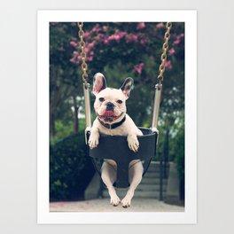 Frenchie Swings Art Print