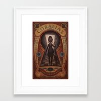 coraline Framed Art Prints featuring Coraline by Audrey Benjaminsen