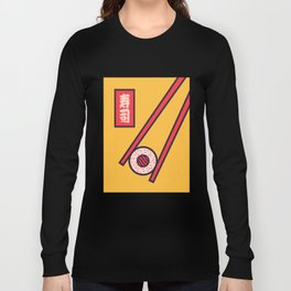Sushi Minimal Japanese Food Chopsticks - Yellow Long Sleeve T-shirt
