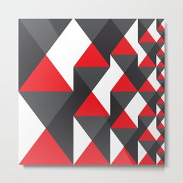 Geometric Pattern 20 (red triangles) Metal Print