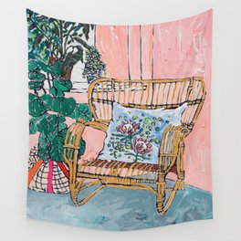 Cane Chair After David Hockney Wall Tapestry