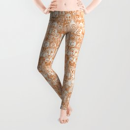 animal ABC orange ivory Leggings