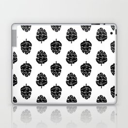 Monstera house plant leaf black and white painting  hipster indoor house plant tropical garden   Laptop & iPad Skin