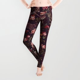 Cat and Floral Pattern Leggings
