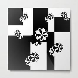 Black and White Floral Geometric Metal Print
