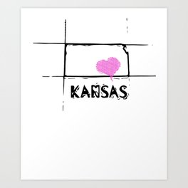 Love Kansas State Sketch USA Art Design Art Print