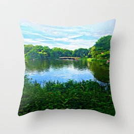 Central Park Bridge Over Peaceful Waters Throw Pillow