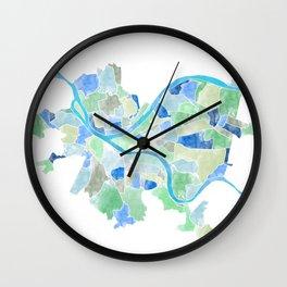Pittsburgh Neighborhood Map Wall Clock