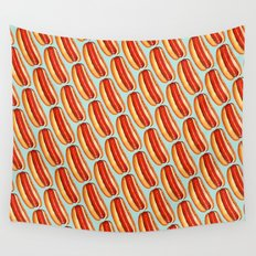 Hot Dog Pattern Wall Tapestry
