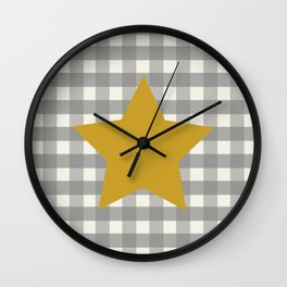 Country Farmhouse Mustard Gold Yellow Star Grey Gingham plaid Primitive Wall Clock