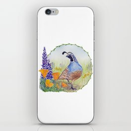 California Quail with Poppies and Lupine iPhone Skin