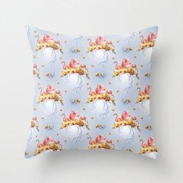 Shy Flamingo Throw Pillow
