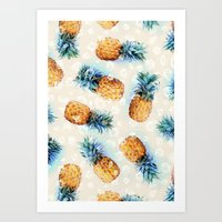 crystals Art Prints featuring Pineapples + Crystals  by micklyn
