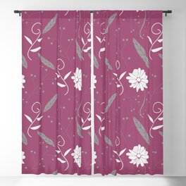 Mauve Floral and Feather Pattern Blackout Curtain