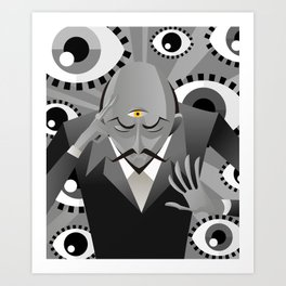 third eye mentalist with eyes background Art Print