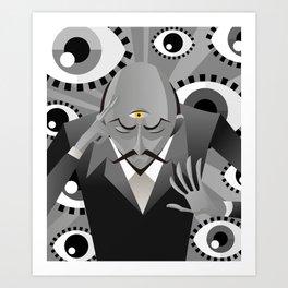 third eye mentalist with eyes background Art Print