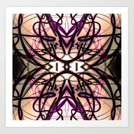 Loopy Lines Abstract Art Plum and Peach Art Print
