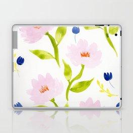 Pink Floral Watercolor Pattern Laptop & iPad Skin