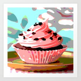 Chocolate Cupcakes with Pink Buttercream Art Print