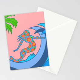 Girls Surf Too,solid color Stationery Cards