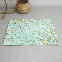 Sparkling gold glitter confetti on aqua ocean blue watercolor background - Luxury pattern Rug