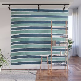 Aqua Teal Stripe Wall Mural