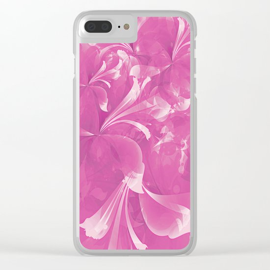 Stylized flowers in pink Clear iPhone Case