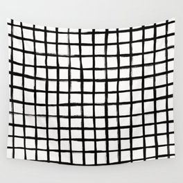 Strokes Grid - Black on Off White Wall Tapestry