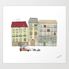 Budapest and the wandering cat Art Print