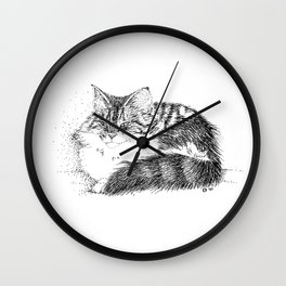 Maine Coon Cat - Pen and Ink Wall Clock