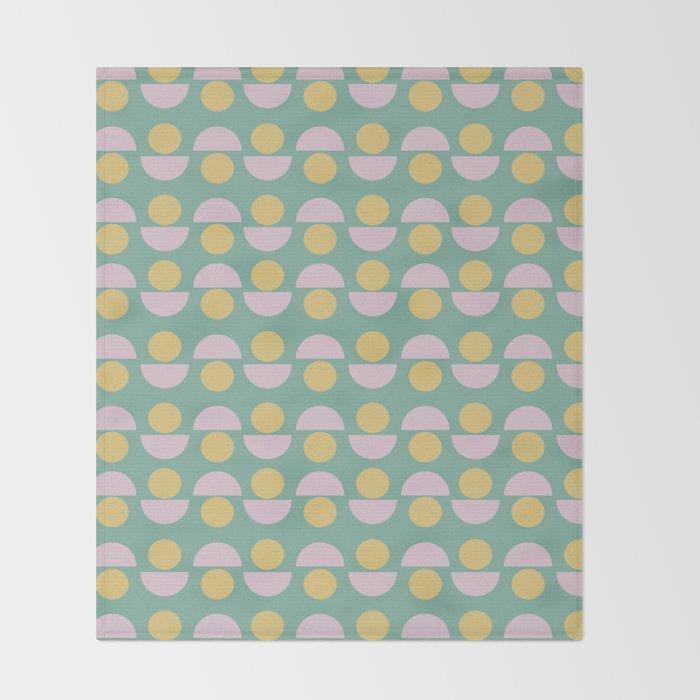 Scandinavian Geometric Pattern in Green, Lavender and Yellow Throw Blanket