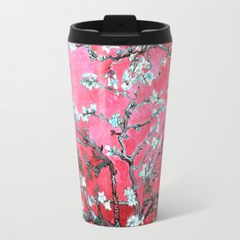 Van Gogh Almond Blossoms : Reddish Pink & Light Blue Travel Mug