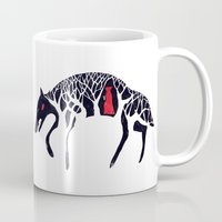 red hood Mugs featuring L'il Red Riding Hood by Becca Thorne