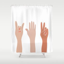 Hand Signs Female Abstract Graphic Design Shower Curtain