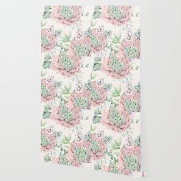 Pink Succulents on Cream Wallpaper