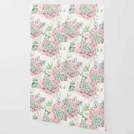 Pink Succulents on Cream Wallpaper