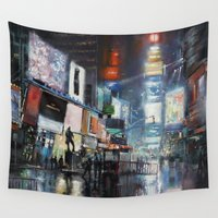 broadway Wall Tapestries featuring Nights on Broadway by Scott Grabowski