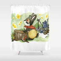 jackalope Shower Curtains featuring July Jackalope by JoJo Seames