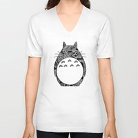 ghibli V-neck T-shirts featuring Ghibli Zentangle by Riaora Creations