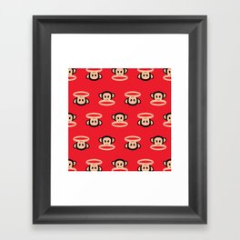 Julius Monkey Pattern by Paul Frank - Red Framed Art Print