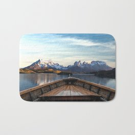 Torres del Paine National Park Chile, The Boat in Patagonia Bath Mat