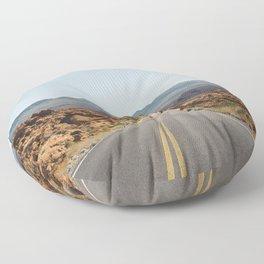 On the Desert Road Floor Pillow