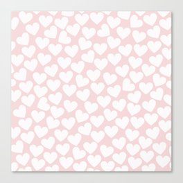 Pink & White - Valentine Love Heart Pattern - Mix & Match with Simplicty of life Canvas Print