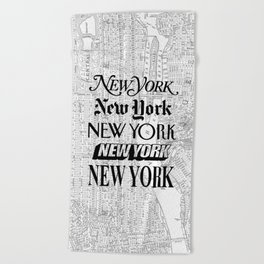 New York City black and white New York poster I love heart NYC Design black-white home wall decor Beach Towel