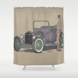 T-bucket Girl Shower Curtain