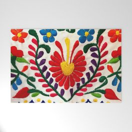 Red Mexican Flower Welcome Mat